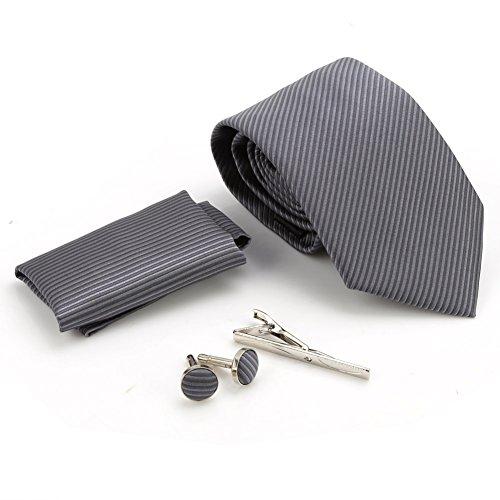 Zicac Krawatte Set Hochzeit Tie Business Schlips Klassischer Schnitt Krawatte (Dunkelgrau - Streifen) - 5
