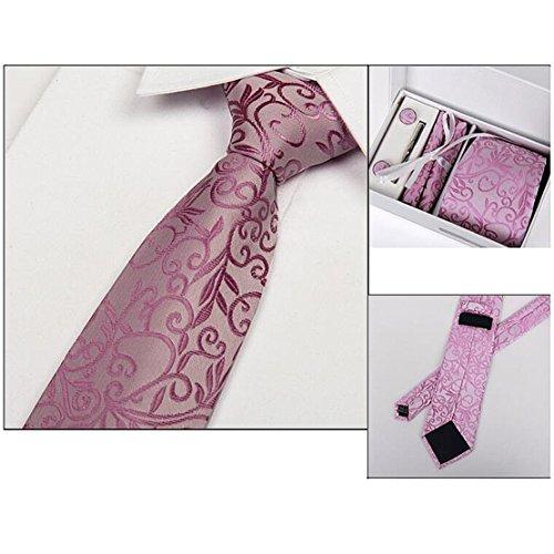 Männer Krawatte Business Set Hochzeit Krawatte Manschettenknöpfe Taschentuch und Krawatte Clip (Weiße Box, 3) - 2