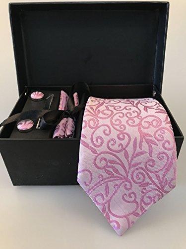 Männer Krawatte Business Set Hochzeit Krawatte Manschettenknöpfe Taschentuch und Krawatte Clip (Weiße Box, 3) - 3