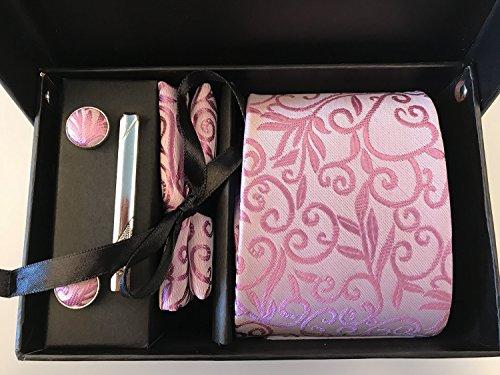 Männer Krawatte Business Set Hochzeit Krawatte Manschettenknöpfe Taschentuch und Krawatte Clip (Weiße Box, 3) - 6