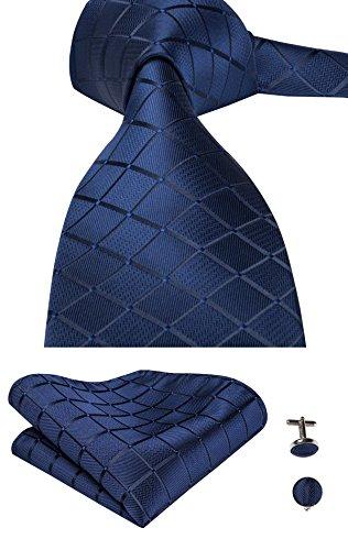 Hi-Tie Seiden-Krawatte für Herren, Blau kariert