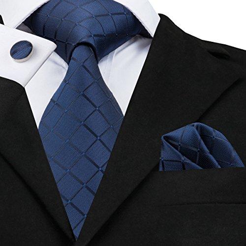 Hi-Tie, Seiden-Krawatte für Herren mit Manschettenknöpfen und Taschentuch Gr. One size, Blau kariert - 2