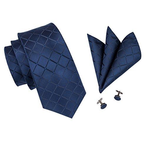 Hi-Tie, Seiden-Krawatte für Herren mit Manschettenknöpfen und Taschentuch Gr. One size, Blau kariert - 3
