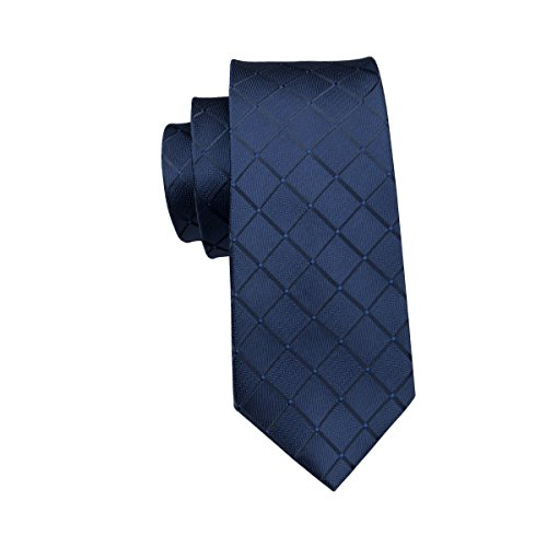 Hi-Tie, Seiden-Krawatte für Herren mit Manschettenknöpfen und Taschentuch Gr. One size, Blau kariert - 4