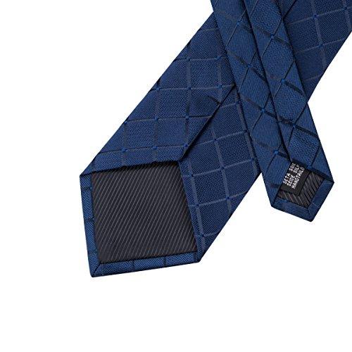 Hi-Tie, Seiden-Krawatte für Herren mit Manschettenknöpfen und Taschentuch Gr. One size, Blau kariert - 5