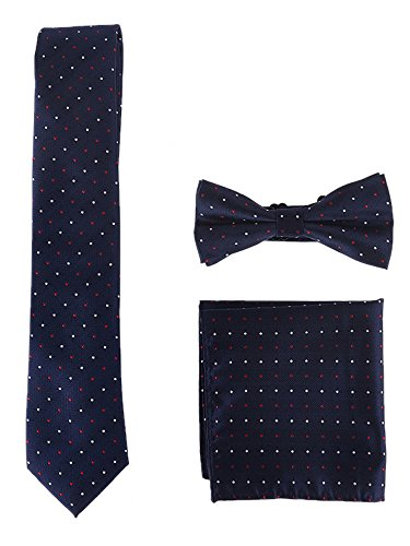 WANYING Herren Klassische 6*12cm Fliege & 6cm Schmale Krawatte & 22*22 cm Einstecktuch 3 in 1 Sets - Weiß Rot Gepunket Dunkelblau - 2