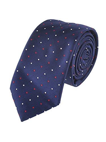 WANYING Herren Klassische 6*12cm Fliege & 6cm Schmale Krawatte & 22*22 cm Einstecktuch 3 in 1 Sets - Weiß Rot Gepunket Dunkelblau - 3