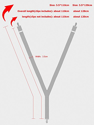 Herren Hosenträger Fliegen Set, 3 Clips 3,5cm Breit Y-Form Hosenträger & Fliegen Casual Business - Länge 120cm Weinrot - 8