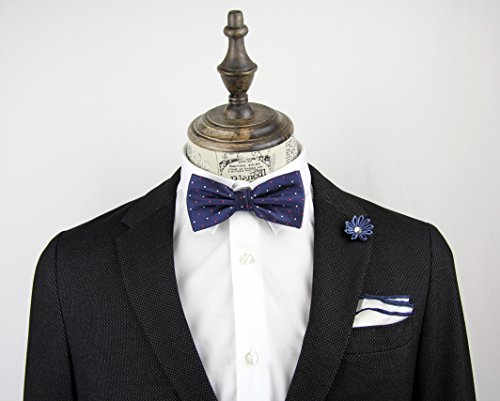 NOVEL Fliege | Handgefertigt | Anzug-Fliege | Herren-Schleife | Krawattenschleife | Querbinder mit Hakenverschluss | Gepunktet | Farbe: Blau - 2