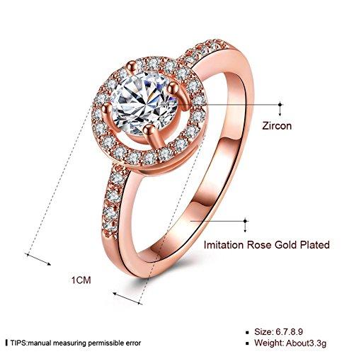 Beydodo Damen Ring Vergoldet Kreis Vier Klaue Strass Eherring Rosegold Ring Partner Ringgröße 54 (17.2) - 2