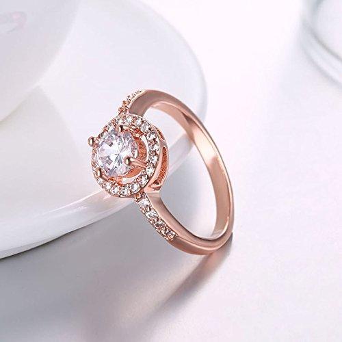 Beydodo Damen Ring Vergoldet Kreis Vier Klaue Strass Eherring Rosegold Ring Partner Ringgröße 54 (17.2) - 3