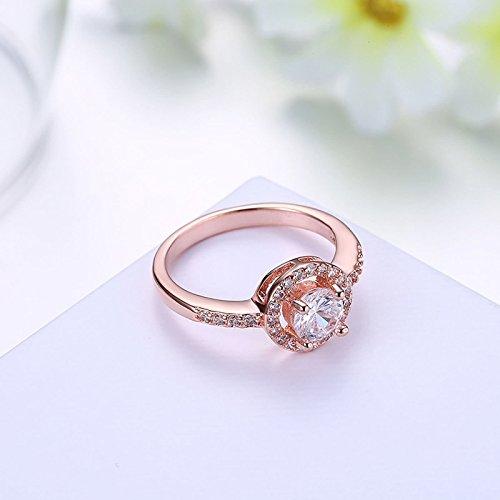 Beydodo Damen Ring Vergoldet Kreis Vier Klaue Strass Eherring Rosegold Ring Partner Ringgröße 54 (17.2) - 4