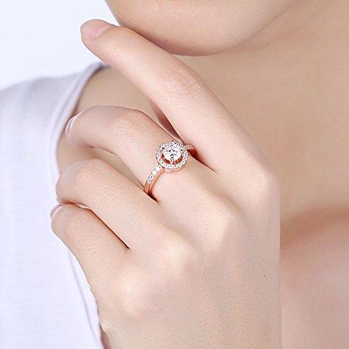 Beydodo Damen Ring Vergoldet Kreis Vier Klaue Strass Eherring Rosegold Ring Partner Ringgröße 54 (17.2) - 5