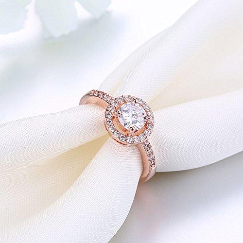 Beydodo Damen Ring Vergoldet Kreis Vier Klaue Strass Eherring Rosegold Ring Partner Ringgröße 54 (17.2) - 6