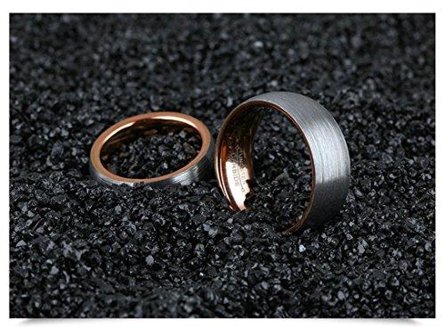 Bishilin 2 Stücke Wolframcarbid Männer Frauen Ringe Wolframcarbidring Hochglanzpoliert Rund Eherring Verlobungsringe Paar Rosegold Demen Gr. 57 (18.1)&Herren Gr. 60 (19.1) - 2