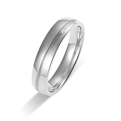 Amtier Paar-Ring Edelstahl-Ringe für Paar Eheringe Gravur Herrenring Damenringe 5mm mit Geschenkbox - 2