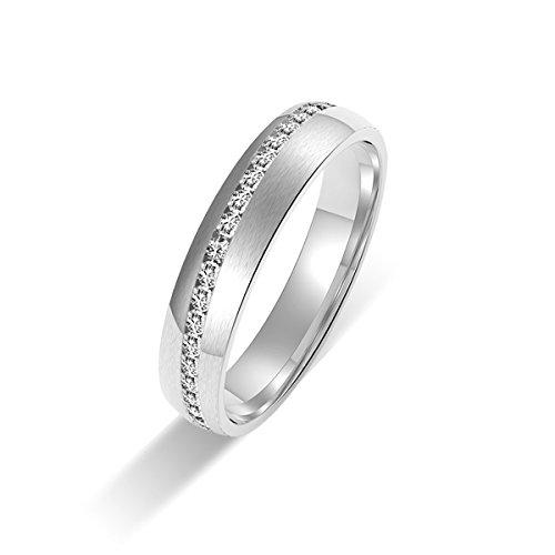 Amtier Paar-Ring Edelstahl-Ringe für Paar Eheringe Gravur Herrenring Damenringe 5mm mit Geschenkbox - 3