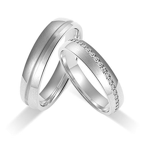 Amtier Paar-Ring Edelstahl-Ringe für Paar Eheringe Gravur Herrenring Damenringe 5mm mit Geschenkbox - 4