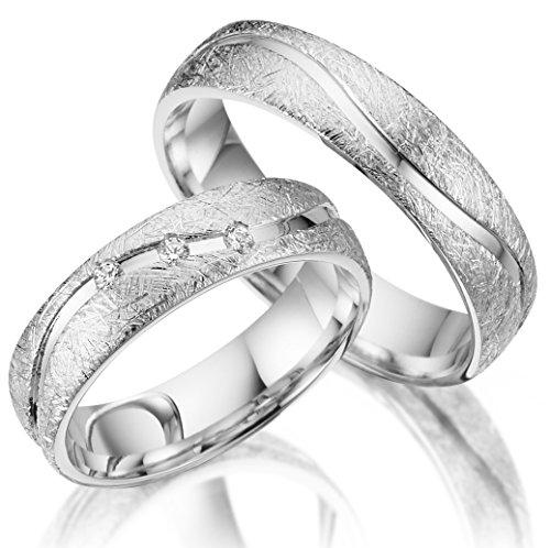 Trauringe 925 Silber PAARPREIS inkl. Swarovski Crystal
