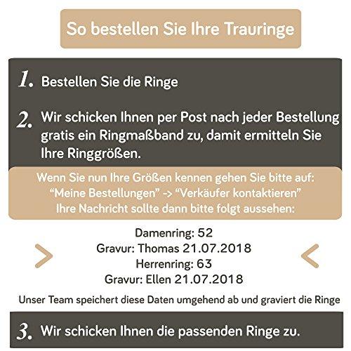 2 x Trauringe 925 Silber PAARPREIS inkl. Swarovski Crystal und Gravur AG.08 Ehe-ringe Verlobungs-ringe Heiraten Wedding Rings Band Platin Gold Silber Weißgold - 2