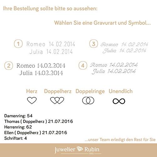 2 x Trauringe 925 Silber PAARPREIS inkl. Swarovski Crystal und Gravur AG.08 Ehe-ringe Verlobungs-ringe Heiraten Wedding Rings Band Platin Gold Silber Weißgold - 3