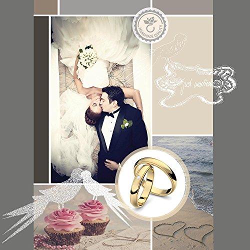 Eheringe Trauringe Gold Set AMOONIC mit Zirkonia Freundschaftsringe Paarpreis Verlobungsringe Partnerringe Silber hochwertig vergoldet Ringpaar Hochzeitsringe Eheringe Luxusetui ER88VGGGZIFA-5060 - 2