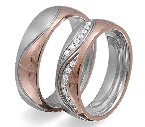 Adomio -Ringe 2 Trauringe Verlobungsringe Edelstahl Rosegold vergoldet - ca. 15 Zirkonia weiss gratis Wunschgravur E-FT-HD - 2