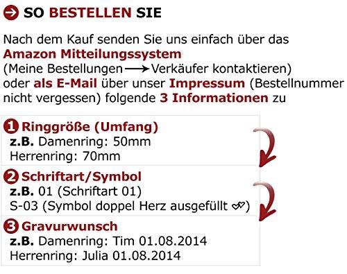 Adomio -Ringe 2 Trauringe Verlobungsringe Edelstahl Rosegold vergoldet - 1 Zirkonia weiss gratis Wunschgravur E-FA-HD - 3