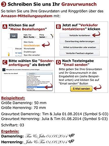 Adomio -Ringe 2 Trauringe Verlobungsringe Edelstahl Rosegold vergoldet - 1 Zirkonia weiss gratis Wunschgravur E-FA-HD - 6