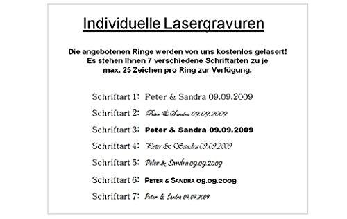 Eheringe Verlobungsringe Trauringe aus Titan mit 0,02ct. Diamant und Laser Gravur TB017 - 2
