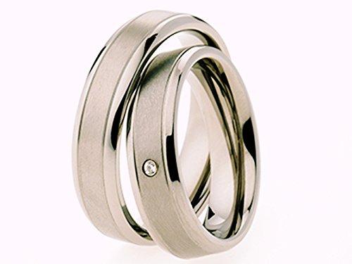 2 Eheringe Trauringe Verlobungsringe Ringe aus Titan mit Diamant und Laser Gravur - 2