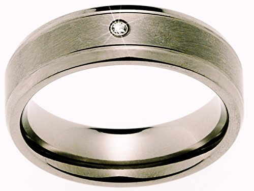 2 Eheringe Trauringe Verlobungsringe Ringe aus Titan mit Diamant und Laser Gravur - 3