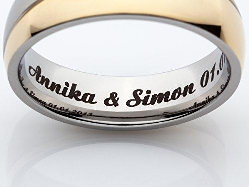 2 Eheringe Trauringe Verlobungsringe Ringe aus Titan mit Diamant und Laser Gravur - 6