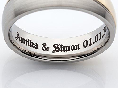 2 Eheringe Trauringe Verlobungsringe Ringe aus Titan mit Diamant und Laser Gravur - 7