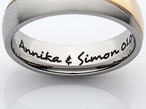 2 Eheringe Trauringe Verlobungsringe Ringe aus Titan mit Diamant und Laser Gravur - 9