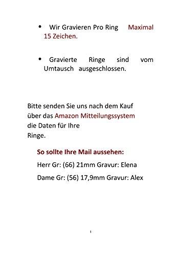 Eheringe Partnerringe Trauringe Verlobungsringe Freundschaftsringe aus Titan mit Zirkonia / Laser Gravur GRATIS - 4