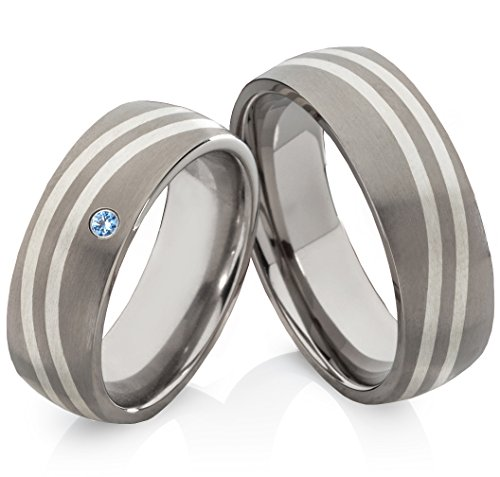 Hochzeitsringe aus Titan mit 925 Silber und Topas