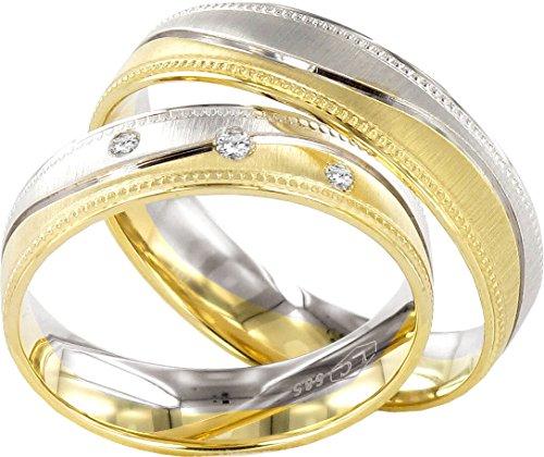 Eheringe in Gold Plattiert 5mm mit Gravur und Stein