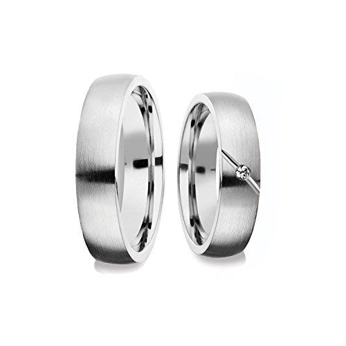 Eheringe Silber 925 GRATIS Luxusetui Brillant 0.015 Karat