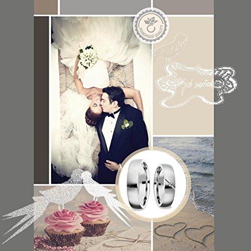 Eheringe Verlobungsringe Trauringe Freundschaftsringe Silber 925 GRATIS Luxusetui Brillant 0.015 Karat Paarpreis Set Partnerringe Weißgold Platin Optik Ringpaar Hochzeitsringe Paar 5mm FF467SS925BRFA - 2
