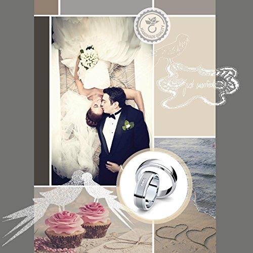 Eheringe Verlobungsringe Trauringe Freundschaftsringe Silber 925 * +GRATIS Luxusetui * Zirkonia Paarpreis Set Partnerringe Silber Weißgold Platin Optik Ringpaar Hochzeitsringe Paar 6mm FF360SS925ZIFA - 2