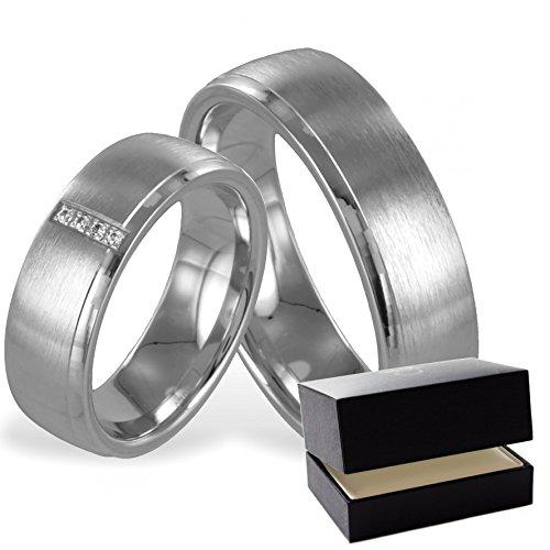 Trauringe Silber 925 * inkl. GRATIS Luxusetui * Zirkonia