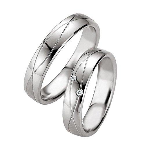 Eheringe aus 925 Silber/Platiniert mit echten Diamanten