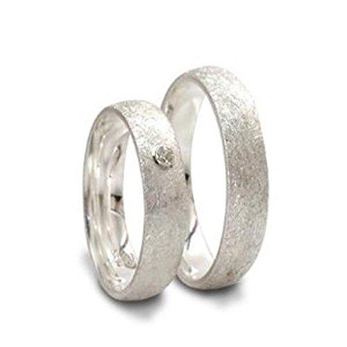 Silberne Partnerringe mit weißem Spinell-Halbedelstein
