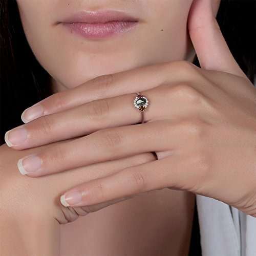 Geschenk Frau Verlobungsring-Einzelstück-Grösse: 17.8-Edelsteine-Ring-Turmalingruppe-Diamanten-Silber-Frau - 2