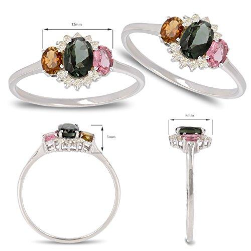 Geschenk Frau Verlobungsring-Einzelstück-Grösse: 17.8-Edelsteine-Ring-Turmalingruppe-Diamanten-Silber-Frau - 3