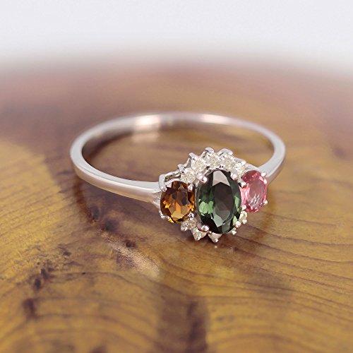 Geschenk Frau Verlobungsring-Einzelstück-Grösse: 17.8-Edelsteine-Ring-Turmalingruppe-Diamanten-Silber-Frau - 4