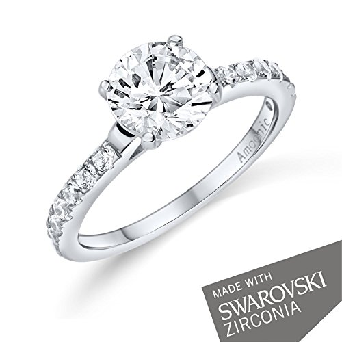 Verlobungsringe mit Zirkonia Stein Silber Damen 925 + LUXUSETUI! Verlobungsring Heiratsantrag Idee Antrag Hochzeit Idee Silberring Ring Zirkonia wie Diamant-Ring Damenring AM289 SS925ZIFAZIFA54 - 2