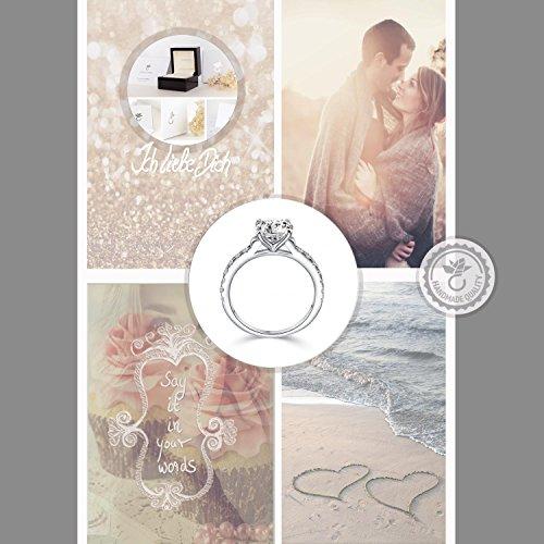 Verlobungsringe mit Zirkonia Stein Silber Damen 925 + LUXUSETUI! Verlobungsring Heiratsantrag Idee Antrag Hochzeit Idee Silberring Ring Zirkonia wie Diamant-Ring Damenring AM289 SS925ZIFAZIFA54 - 7