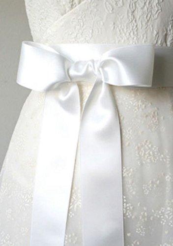Unbekannt Brautgürtel Taillenband Damen Gürtel Abendkleidgürtel Weiß Ivory Creme Rot Schwarz Lila Altrosa Navy Blue Damengürtel Satinband Satin Band (Creme) - 7